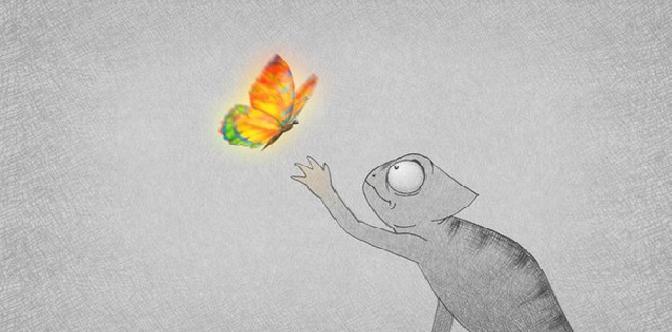 Смотреть Хамелеон и бабочка
